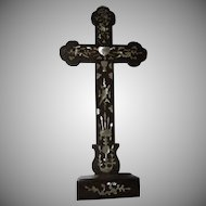 French Wood Inlay Mother Of Pearl Old Standing Cross Religious Symbols