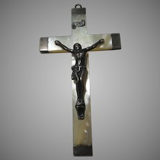 Old Large Mother of Pearl and Silver Crucifix