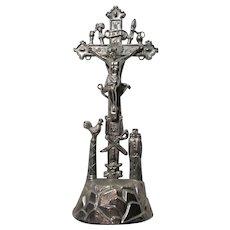 Silver Tone Metal Crucifix With Religious Symbols Jesus Statue Figurine