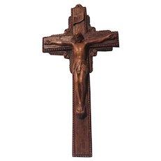 Old Molded Wall Crucifix With Indulgences On Back