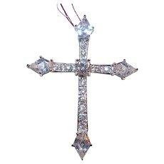 Sterling Silver Cubic Zirconia CZ Cross Pendant