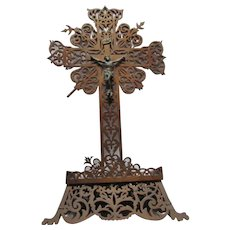 Folk Tramp Art Carved Wood Large Standing Crucifix