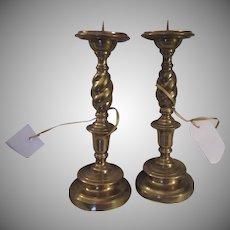 Pair Solid Brass Candle holders Candle Sticks Twist Design 12 Inch Tall