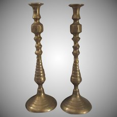 Pair India Brass  Candle Holders 16 Inch Candle Sticks Engraved Designs Vintage