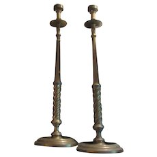 Pair Old Huge Solid Brass Candle Holders 30 Inch Tall