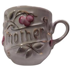 Old Germany Mother Large Cup Fancy Pink Flowers