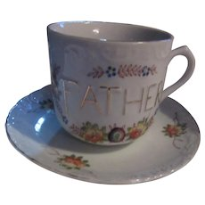 Father Large Cup Saucer Ornate Fathers Day