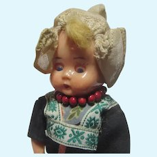Dutch Girl Hard Plastic Doll Wooden Shoes Holland