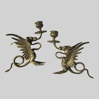 Winged Dragons Gargoyle Creatures Bronze Candle Holders Candlesticks Pair