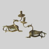 Winged Dragons Gargoyles Pair Candle Holders Fine Metalwork  Candlesticks