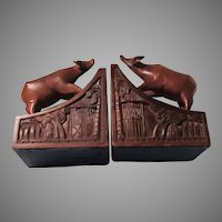 Old Cow Carved Wood Bookends India