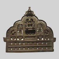 Old India Bronze Statue Deity Panel