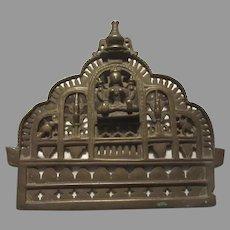 Old India Bronze Statue Deity Panel