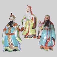Set 3 Chinese Gods Statues Figurines Large