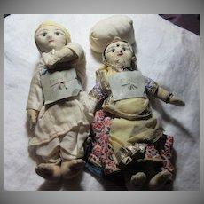 Pair Vintage Cloth Dolls of India Dhobin Lady & Dhobie Man Fine Textile Indian Art