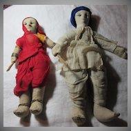 Pair Vintage Cloth Dolls of India  Lady &  Man Fine Textile Indian Art