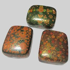 Group 3 Hand Painted Paper Mache Kashmir India Boxes
