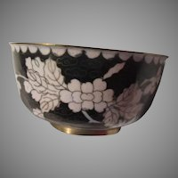 Old Cloisonne Bowl Pink Flowers Chinese