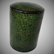 Papier Mache Lacquer Box Green Gold Hand Painted Kashmir India