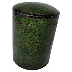 Papier Mache Lacquer Box Green Gold Hand Painted Kashmir India