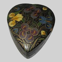 Heart Shape Papier Mache Box Hand Painted India Kashmir