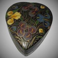Heart Shape Papier Mache Box Hand Painted India Kashmir