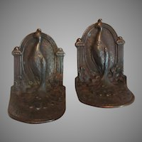 Old Bronzed Metal Peacock Bookends