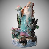 Chinese Porcelain or Pottery Large God of Good Luck Long Life Highly Detailed Signed