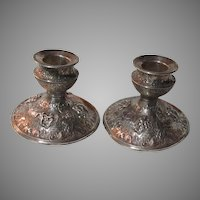 Barbour SP Co Silver Plate Candlesticks With Ornate Figures And Details