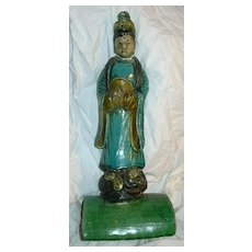 Old Asian Roof Tile Qwan Yin Buddha Woman Glazed Pottery