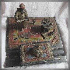 Austrian School Vienna Bronze & Marble Desk Ink Well Set Orientalist Arab Theme