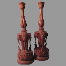 Pair Carved Wood Elephants Candleholders Candle Sticks