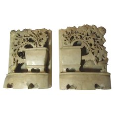 Carved Soapstone True Pair Bookends