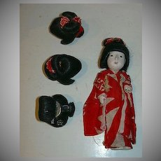 Old Japanese Miniature Doll Four Wigs & Kimono
