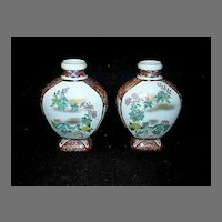 True Pair Chinese Porcelain Vases Floral Designs