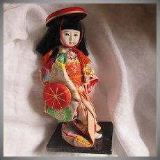 Oriental Japanese Doll Kimono Glass Eyes