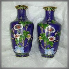 Pair Chinese Cloisonne Vases Royal Blue & Flowers