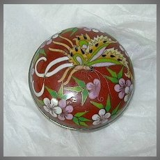 Chinese Cloisonne Small Covered Dish With Dragonfly