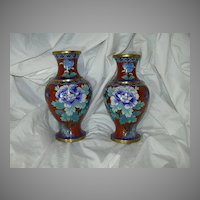 True Pair Chinese Cloisonne vases Elegant Blue Flowers