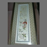 Framed Oriental Embroidered Silk With Lady & Butterfly