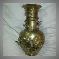 Vintage Vase Dragons Chasing Pearl Heavy Brass