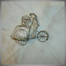 900 Silver Filigree Vintage Miniature Rickshaw Driver & Passenger