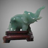 Green Jade Elephant Figurine Wood Stand