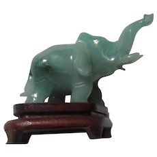 Green Jade Elephant Figurine Wood Stand