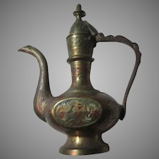 India Brass Small Decorative Ewer Pitcher Color Enamel