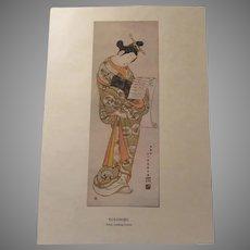 Japanese 1913 Print Toyonobu Actor Reading Letter