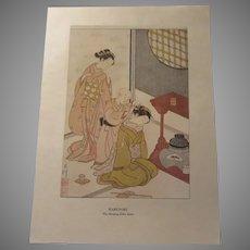 Japanese 1913 Print Harunobu The Sleeping Elder Sister