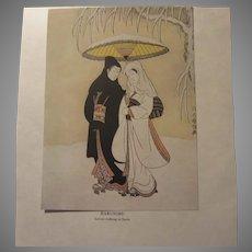 Japanese 1913 Print Harunobu Lovers Walking In Snow