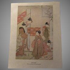 Japanese 1913 Print Shuncho Women Watching Girls Bouncing Balls