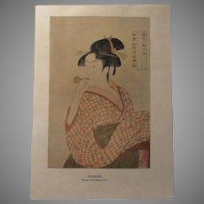 Japanese 1913 Print Utamaro Woman With Musical Toy